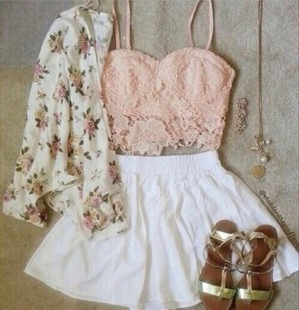 top crop tops lace pink beautiful outfit wow summer spring love pretty flowers cardigan