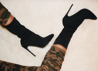 shoes prettylittlething sock boots boots black boots
