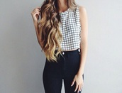 top,beautiful,pattern,tumblr outfit,tumblr,tumblr girl,hipster,white top,black top,minimalist,black and white checked,crop tops,jeans,fashion,clothes,style,tank top,girly,cool,t-shirt,cyber grunge,cyber