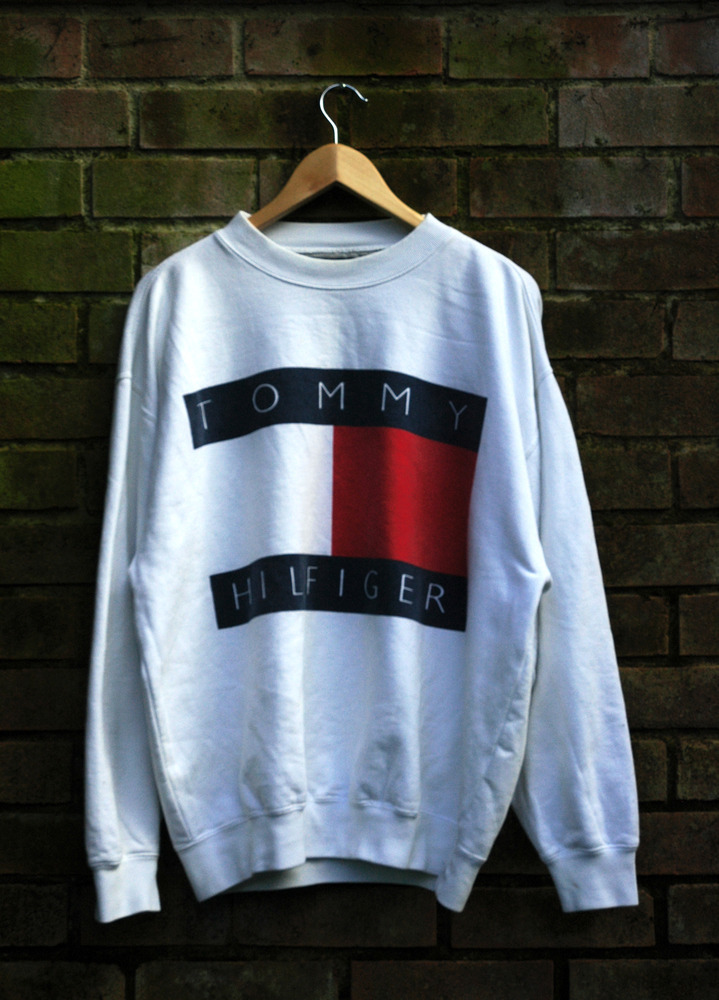 Vintage Tommy Hilfiger Long Sleeve Pullover Jumper Big Logo White Red Blue Sweater