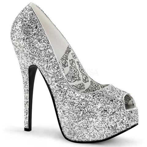 22g bordello sexy shoes hidden platforms peep toe glitter shoes pumps