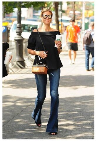 blouse off the shoulder black black top heidi klum jeans purse sandals sunglasses streetstyle