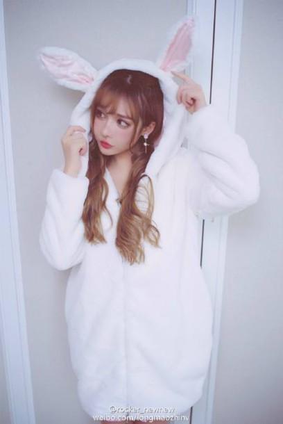 jacket long mao zhin Cute Hooded Long Sleeve Solid Color Rabbit Ear Hoodie  For Women kawaii 726a500cb8