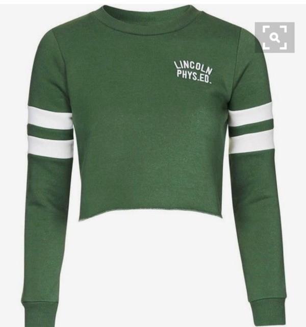 shirt green crop tops long sleeve crop top long sleeves
