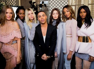 gigi hadid kendall jenner balmain jourdan dunn fashion week 2016 model paris fashion week 2016 coat pink dress blue dress