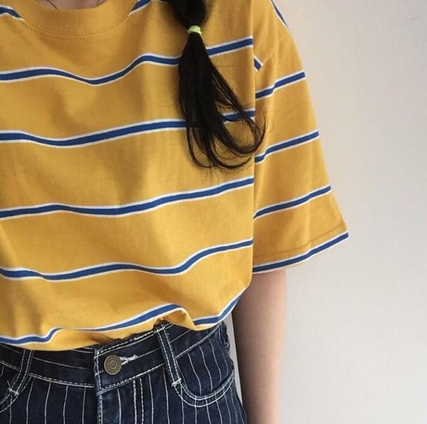 687aecd10 t-shirt, yellow, stripes, striped shirt, shirt, striped t-shirt ...