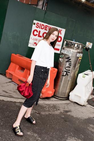 bag skirt black skirt tumblr red bag midi skirt t-shirt white t-shirt shoes slide shoes