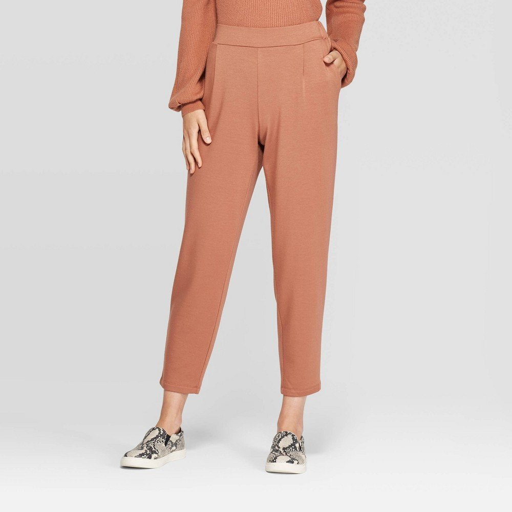 Women's mid-rise straight leg french terry pants - a new day&™ blush m