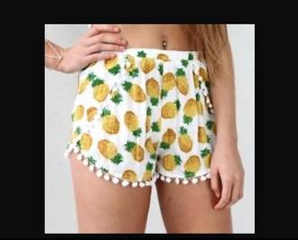 shorts pineapples summer white