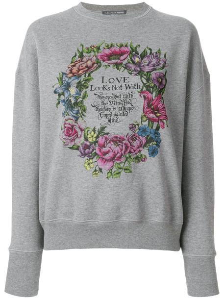 Alexander Mcqueen sweatshirt women love cotton print grey sweater