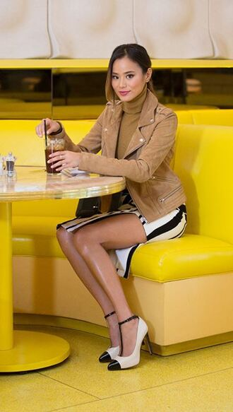 jacket skirt pumps jamie chung blogger stripes striped skirt fall outfits turtleneck top shoes