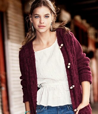 cardigan red jeans shirt white model barbara palvin jewels