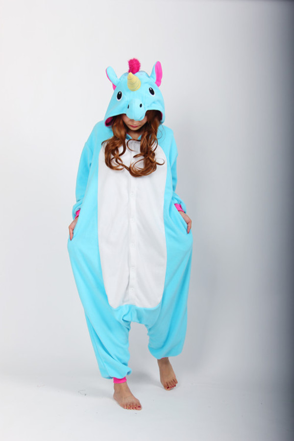 pajamas blue unicorn kigurumi onesie halloween