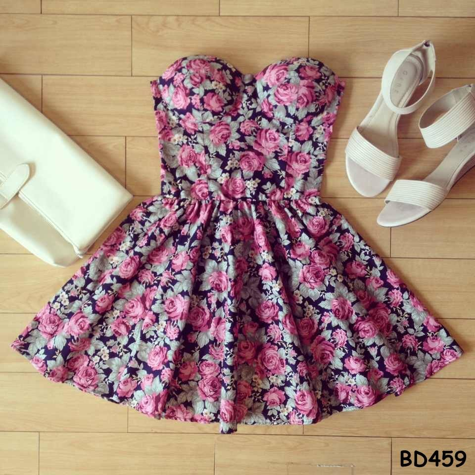 Patricia Floral Bustier Dress with Adjustable Straps - Size XS/S/M BD 459 - Smoky Mountain Boutique