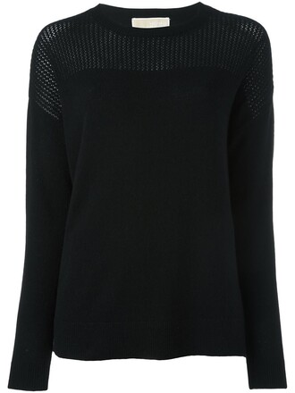 jumper knit open women black sweater