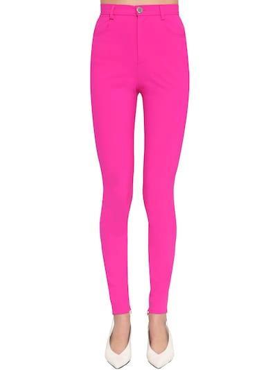 ATTICO Stretch Wool Gabardine Skinny Pants Fuchsia