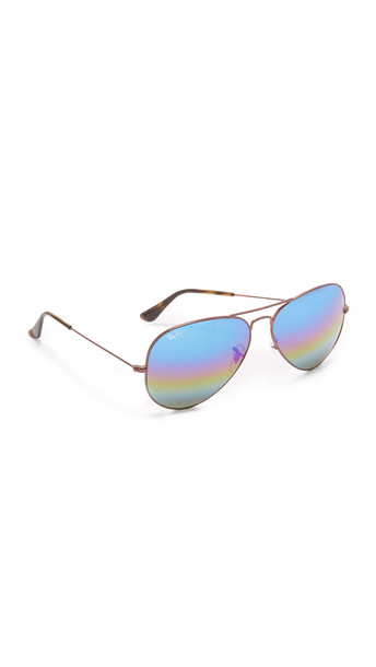 Ray-Ban Rainbow Mirrored Aviator Sunglasses - Bronze/Blue Gold Green Rainbow