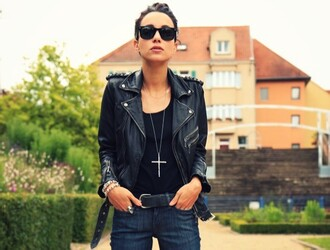 jacket leather black jacket coline