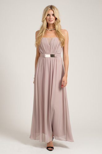 Mink Pleated Belted Bandeau Chiffon Maxi Dress
