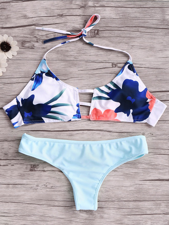swimwear fashion style summer beach bikini hot pattern blue dressfo