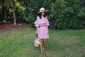 hey pretty thing,blogger,dress,belt,hat,bag,sunglasses,jewels,make-up,off the shoulder,straw hat,beach bag,flats,pink dress,strapless dress,off the shoulder dress,belted dress,summer dress,summer outfits,basket bag,straw bag