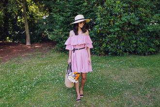 hey pretty thing blogger dress belt hat bag sunglasses jewels make-up off the shoulder straw hat beach bag flats pink dress strapless dress off the shoulder dress belted dress summer dress summer outfits basket bag straw bag