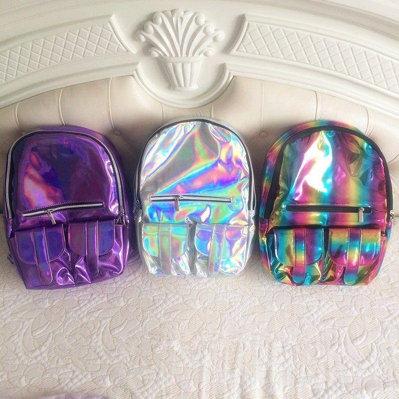 Fashion gammaray hologram backpack harajuku school bag tote laptop