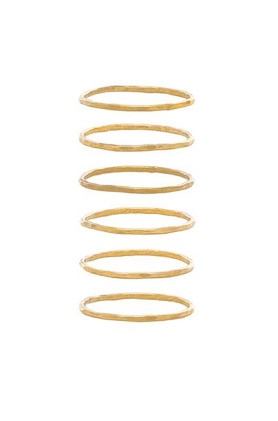 Mimi & Lu Stackable 6 Ring Set in gold / metallic