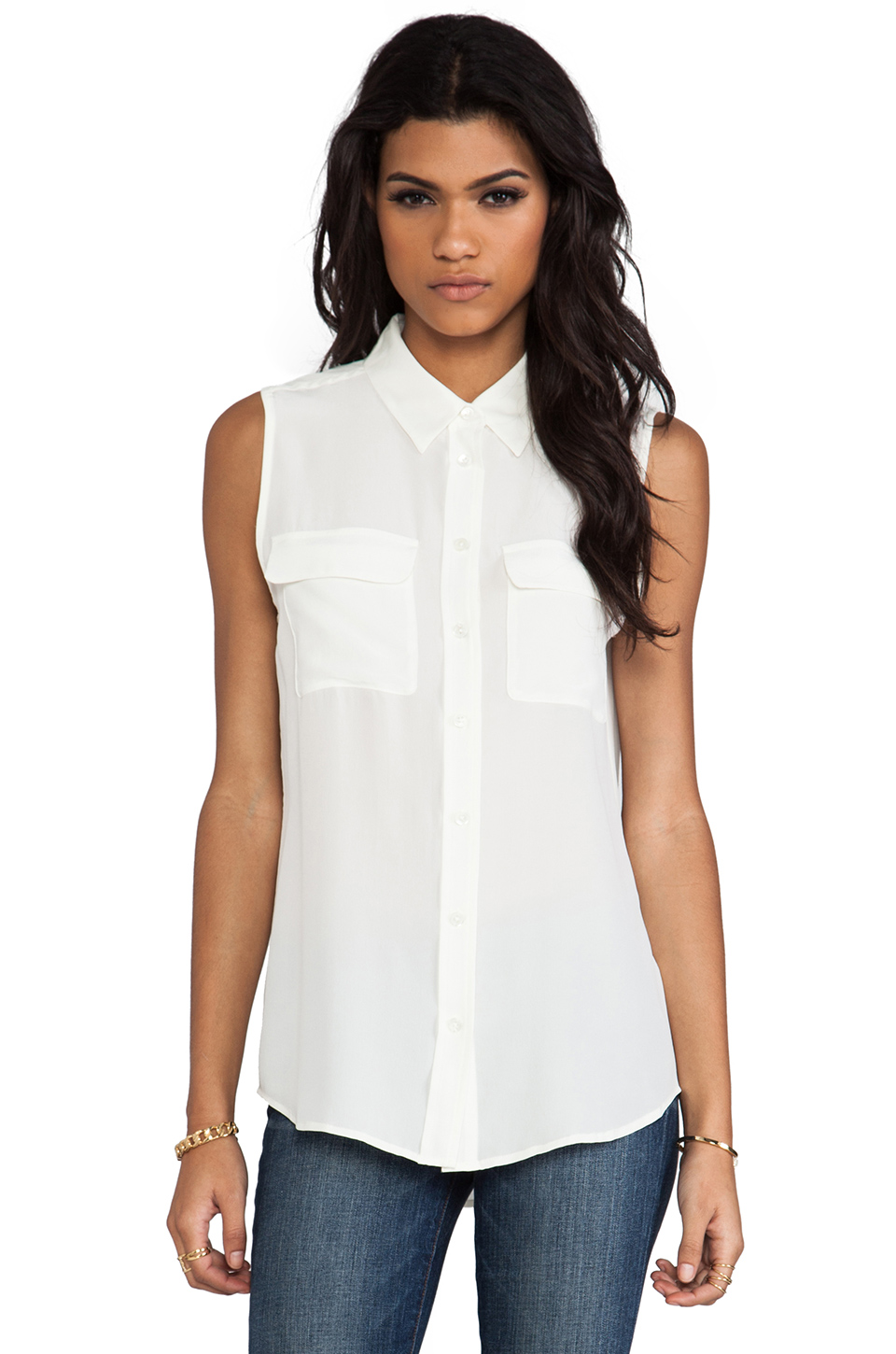 Equipment Sleeveless Slim Signature Blouse in Nature White | REVOLVE