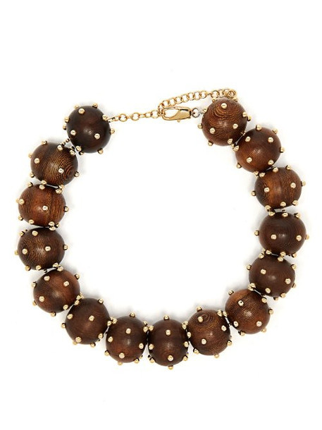 Vanda Jacintho - Studded Bead Choker Necklace - Womens - Brown