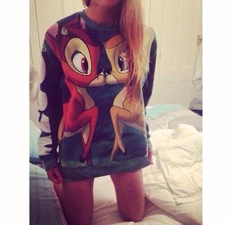 disney sweater cute bambi christmas gift