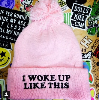 skully hat i woke up like this cap pink pink hat