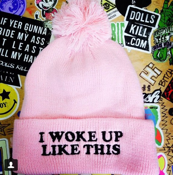 cap pink hat hat pink skully i woke up like this