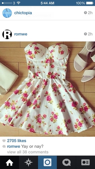 dress rose pink red white beautiful flare tight