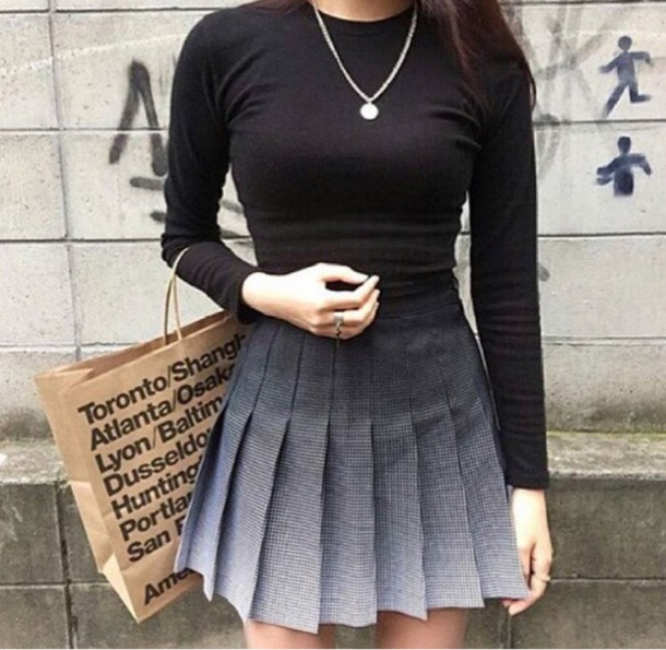 Skirt: ombré skirt, midi skirt, black and white, plaid skirt ...