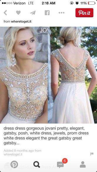 dress jovani prom dress jewels mesh dress white dress