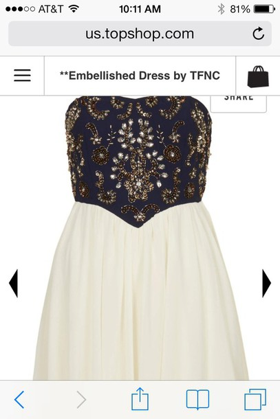 dress formal blue dress white dress formal dress tfnc embellished gold