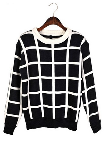 Retro Winter Warm Checked Sweater [FKBJ1055]- US$37.99 - PersunMall.com