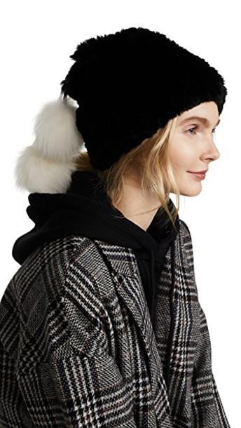 fur hat white black
