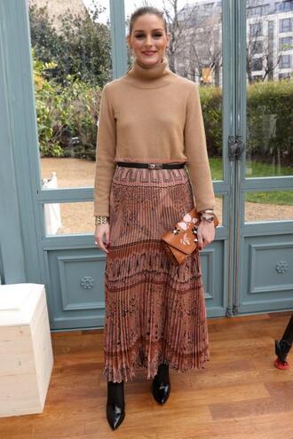 skirt top maxi skirt olivia palermo blogger paris fashion week 2017 fashion week 2017
