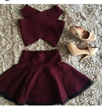 dress red dress red two piece dress set two-piece silk cotton heels red hair swag asap