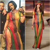 dress,mesh dress,rasta,maxi dress,yellow green red black dresss