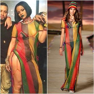 dress mesh dress rasta maxi dress