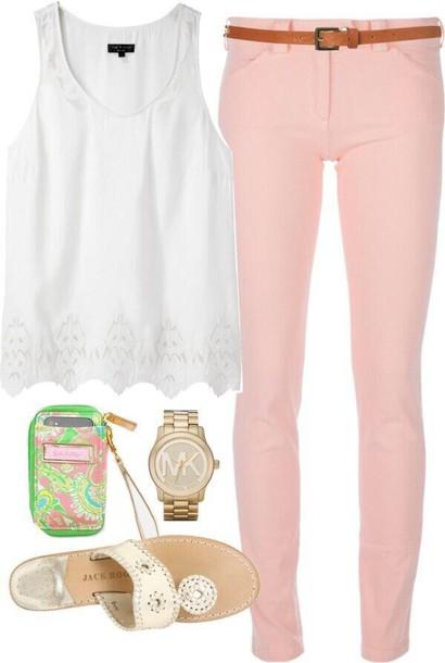 jeans white peach