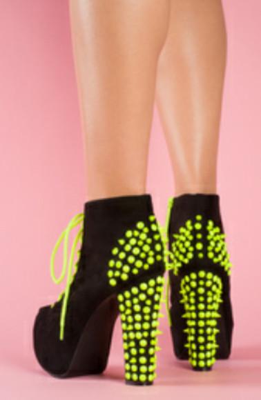 yellow neon high heels neat boots