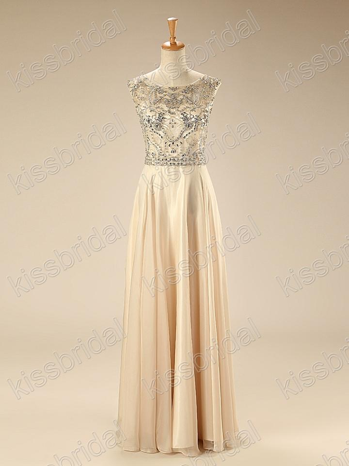 Discount 2015 Stylish In Stock Prom Dress Rhinestone Embellished Scoop Neck Cap Sleeve Backless A-Line Floor-length Chiffon Evening/Formal/Party Gown Online with $127.17/Piece | DHgate