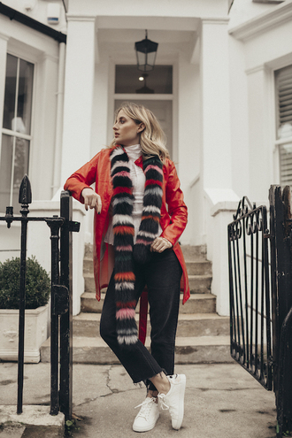 at fashion forte blogger shirt scarf jewels jeans fur coat sneakers winter outfits red coat