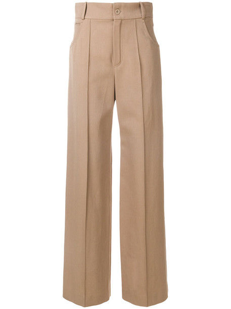 Chloe high women nude cotton silk wool pants