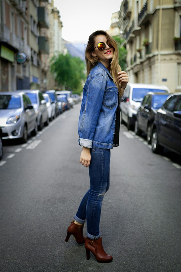 heels on gasoline blogger jacket top sunglasses