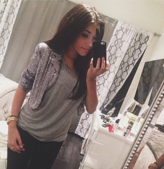 jewels gold clock shirt grey t-shirt glitter horloge madison beer jacket
